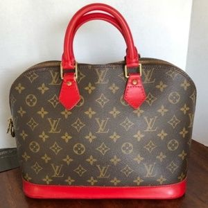 Auth Louis Vuitton custom painted red alma bag